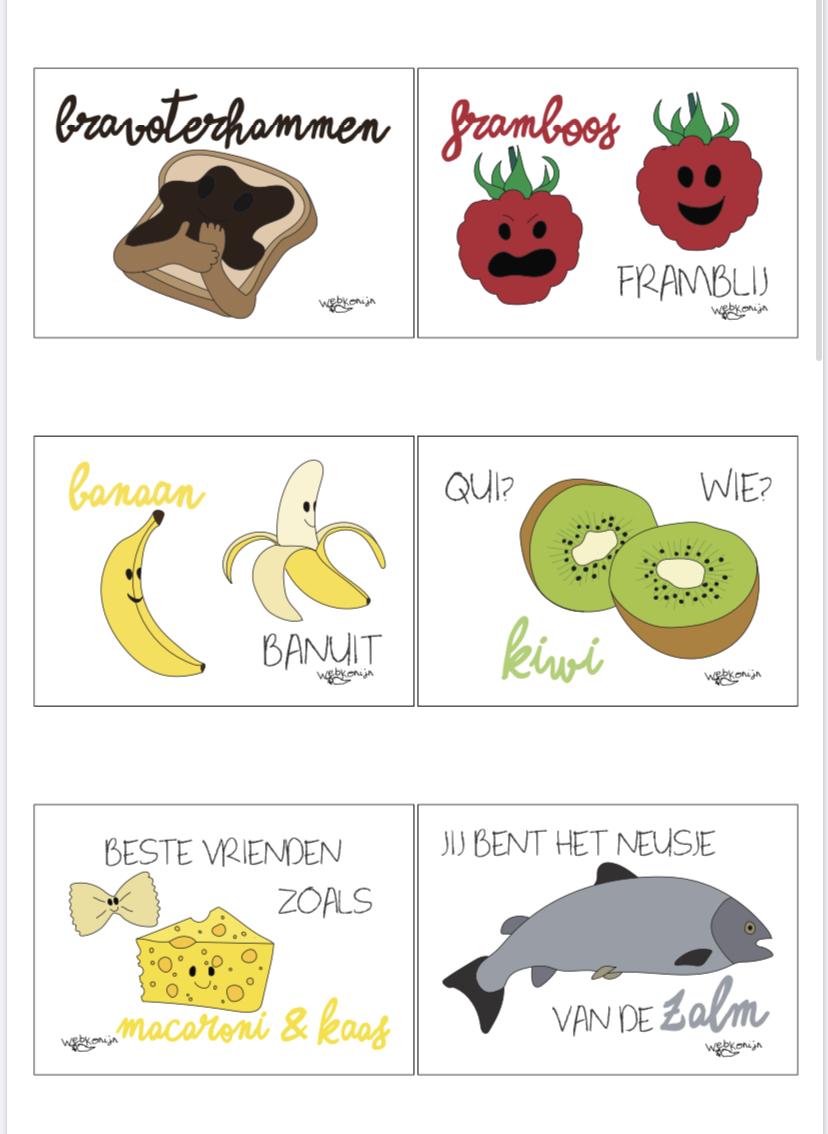 op deze afbeelding zie je een voorbeeld van een printable met brain food & complimentjes